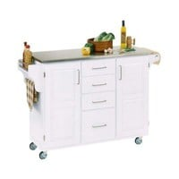 Home Styles Large Create-a-Cart in White with Stainless Top-9100-1022 at The Home Depot