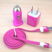 3pcs/Lot!1m USB Cord Power Adapter Wall Charger Car charger Iphone4/4s