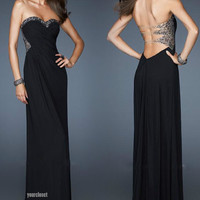 Luxurious elegant black beading evening dress from Your Closet