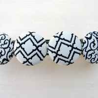 Covered Button Hair Barrette, Black and White Hair Clip. Gift for mom