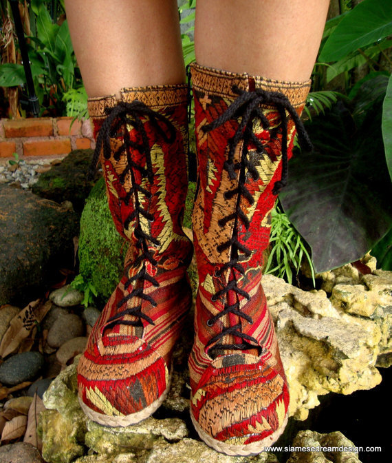 $66.00 Embroidered Mid Calf Lace Up Combat BootThe by SiameseDreamDesign