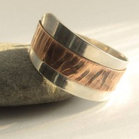 Handforged sterling and copper freeform unisex ring