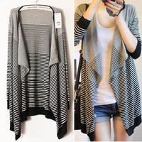 Black White Stripes Irregular Knitting Cardigan