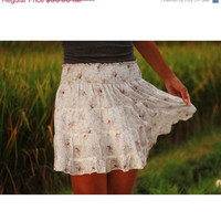 ON SALE Natural White Floral Mini Skirt - Ready to Ship