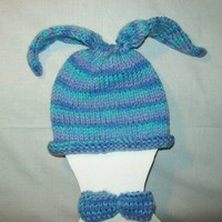 Floppy Bunny Ears Hat n Matching Bow Tie Headband HandKnit Photo Prop