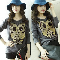 New Korean Womens Long Sleeve Cute Bit Owl Shiny Sequins T-shirts