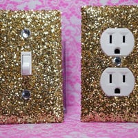 SET Chunky GOLD Glitter Swichplate Outlet Covers ANY Styles