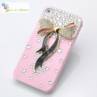 Free shipping iPhone 4 case, iPhone 4s case, case for iPhone 4 mobile case handmade: Bling bling bow i93499581 (custom are welcome)