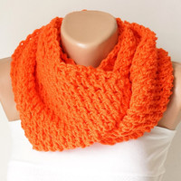 Infinity Scarf, Loop Scarf, Circle Scarf, Winter Cowl - Scarf Orange cowl Chunky