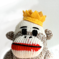 King Sock Monkey Plush  Crown Sock Monkey Doll Stuffed by heidibg