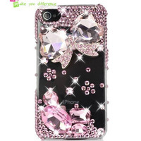 Free shipping iPhone 4 case, iPhone 4s case, case for iPhone 4 mobile case handmade: Bling pink crystal butterfly i92428309 (custom are welcome)