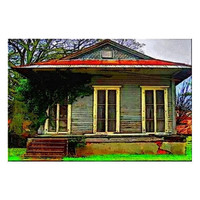 Surreal Architecture Art, Pop Art Cottage, New Orleans Fine Art, Ready to Frame 4x6 Fine Art Print