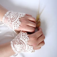 Wedding Cuffs Lace Wedding Accessory Bridal accessory by bytugce