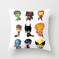 Chibi Heroes Set 1 Throw Pillow by artwaste | Society6