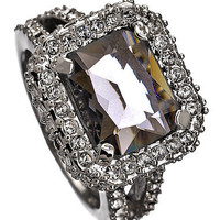 Max & Chloe - ABS Black Diamond Crystal Holiday Gems Cocktail Ring - Max and Chloe