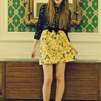 (99+) Daffodil Print Summer Yellow Velvet Bow Skirt | Alice-takes-a-trip | ASOS Marketplace