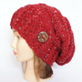 Slouchy beanie hat knit red tweed Irish slouch hats women
