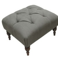 One Kings Lane - Headboards, Ottomans &amp; More - Linen Tufted Ottoman, Gray