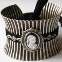 Wide Silver Cuff Bracelet - Black Cameo and Velvet - by LeBoudoirNoir