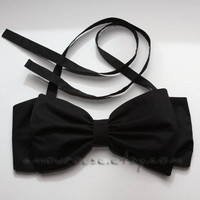 Solid Black Bow Bandeau (100% cotton fabric)