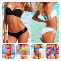 Sexy Lady girls Women Padded Swimwear Bra bathing Suit Bandeau Bikini Strap SML