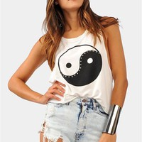 Ying Yang Tank - Ivory at Necessary Clothing