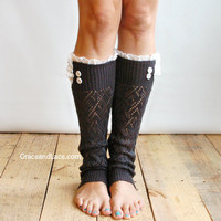 The Lacey Lou Graphite Open-work Leg Warmers w/ ivory knit lace trim &amp; buttons - Legwarmers boot socks (item no. 3-23)
