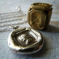 William Shakespeare Wax Seal Necklace. Fine Silver Pendant. Victorian Wax Seal Jewelry.