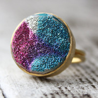 Gold Hot Pink and Turquoise Druzy Ring - Runway Fashion - Statement Ring