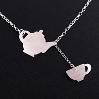 Teapot Teacup Necklace Sterling Silver by OffbeatMelody on Etsy