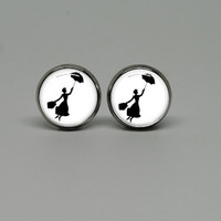 Silver Stud Post Earrings with Mary Poppins