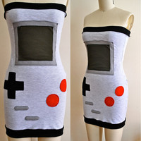 Women Dress  Heather Grey Gameboy Dress by coyotepeyote on Etsy