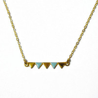 Bunting necklace - triangle garland - mint - gold - tiny triangle necklace