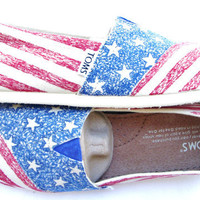 The Liberty  American Flag Custom TOMS by FruitfulFeet on Etsy