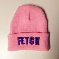 Fetch Pink Fold Over Beanie