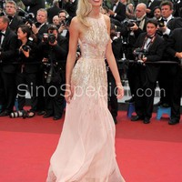 Fashionable Pink A-line Floor Length Backless Chiffon Celebrity Dress-sinospecial.com