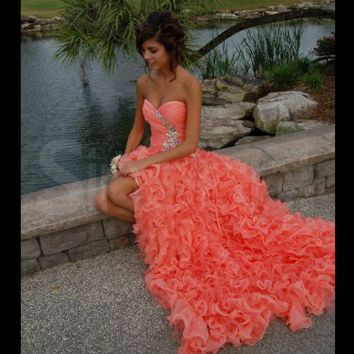 Gorgeous Orange Ball Gown Sweetheart High-low Asymmetrical Prom Dress