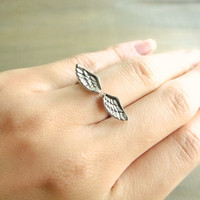 Wing Ring Adjustable ring in Silver by Beazuness on Etsy