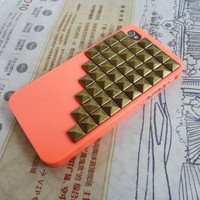 Orange iPhone 4 ,iPhone 4s Case Cover with bronze pyramid stud  -043