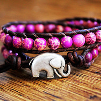 Jasper Amethyst Elephant Leather Beaded Wrap by theredparachute