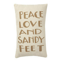 Peace, Love &amp; Sandy Feet Pillow ? French Beach House Decor &amp; Furniture