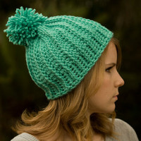 Mint Hat, Pom Beanie, Women&#x27;s Crochet Green Ski Cap