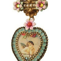 Michal Negrin Crystal Heart Flower Brooch