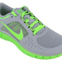 Nike Women`s NIKE FREE RUN+ WMNS RUNNING SHOES 11.5 Men US (WOLF GREY/ELECTRIC GREEN ): Shoes