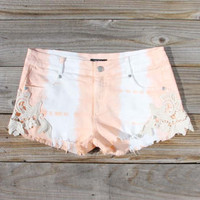 Tie Dye & Lace Shorts in Peach, Women's Sweet Bohemian Clothing