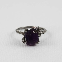 Black Rough Amethyst Ring