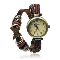 Dark Brown Wrap Watch With Butterfly Pendant