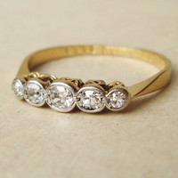 Victorian Five Diamond Eternity Ring 18k Gold by luxedeluxe