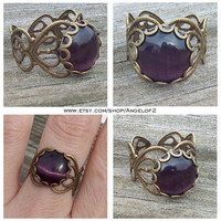 Purple Cat's Eye Cabochon Filigree Heart Lace Ring     - Adjustable