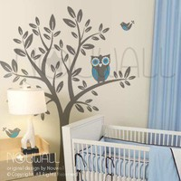 Vinyl Kids Wall Decals Wall Sticker Tree Decal Owl on by NouWall